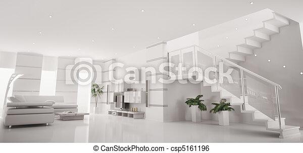 appartamento, render, panorama, moderno, interno, bianco, 3d - csp5161196