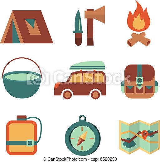 appartamento, set, campeggio, icone, fuori, turismo - csp18520230