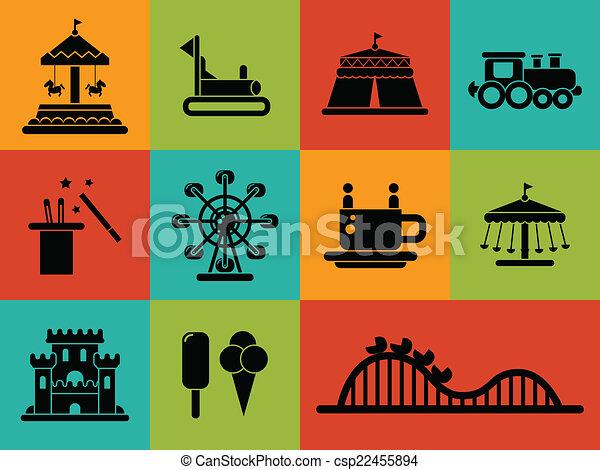 appartamento, set, icone, parco, disegno, divertimento - csp22455894