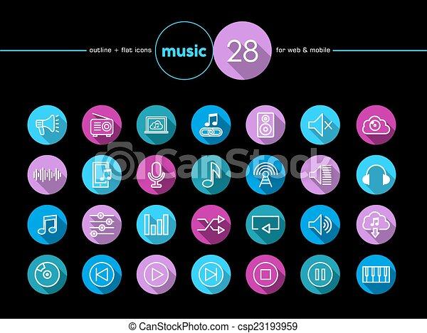 appartamento, set, musica, icone - csp23193959