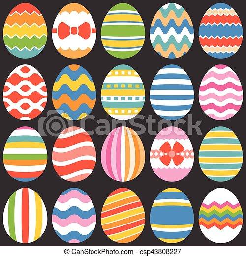 appartamento, set, pasqua, 1, uova, disegno, colorito - csp43808227