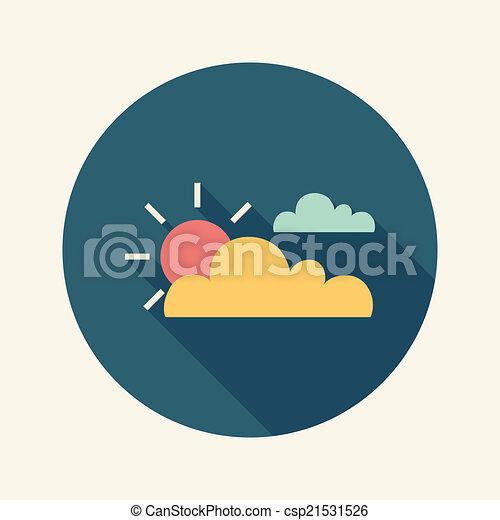 appartamento, sole, lungo, uggia, nuvola, icona - csp21531526