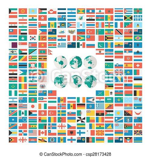 appartamento, stile, bandiera, collezione, mondo - csp28173428