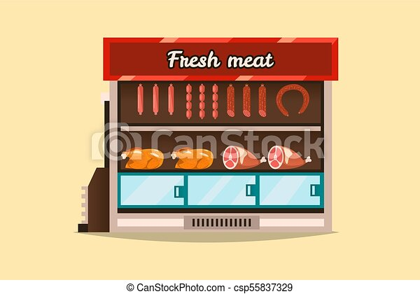 appartamento, stile, carne, countertop, bacheca, shop., vendita, mensola, supermercato, congelare, sausages., products., vetro., interno, fresco, freddo, stare in piedi, goods., frigorifero - csp55837329