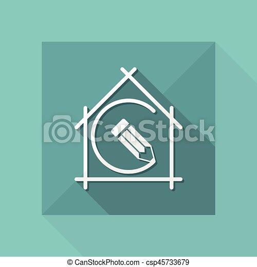 appartamento, vettore, casa, -, pianificazione progetto, disegno, icona - csp45733679