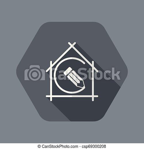appartamento, vettore, casa, -, pianificazione progetto, disegno, icona - csp69300208