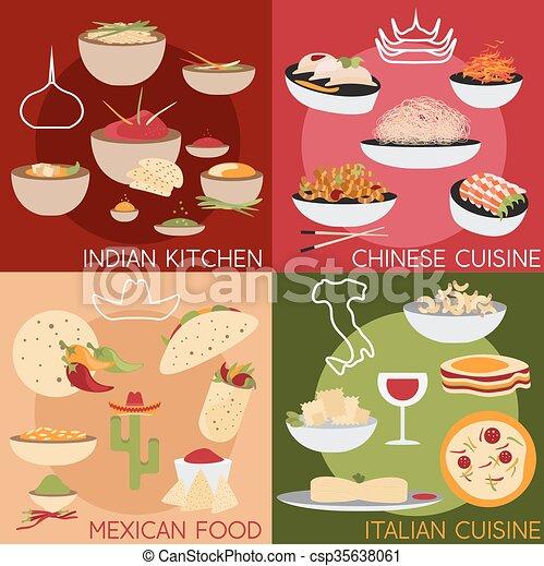 Appartamento vettore cibo cinese indiano disegno for Cibo cinese menu
