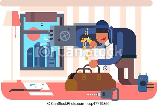 appartement, cambrioleur - csp47719350