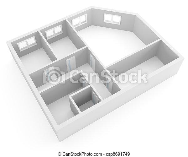 Appartement Fenetres Moderne Plan Portes Vide Salles