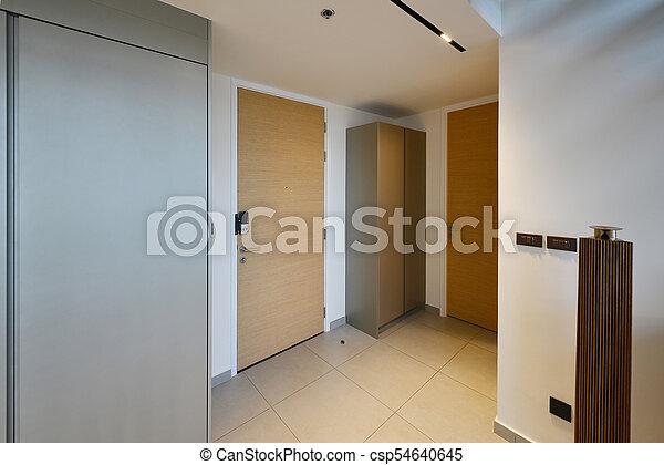 appartement, porte, bois, décoration, couloir, intérieur