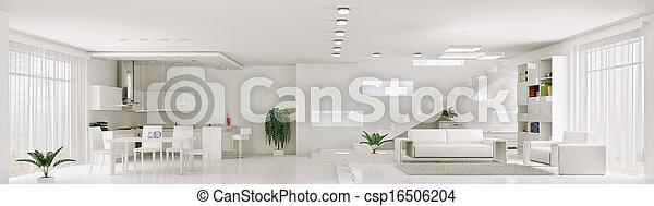 appartement, render, panorama, intérieur, blanc, 3d - csp16506204