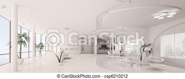 appartement, render, panorama, intérieur, blanc, 3d - csp6210212