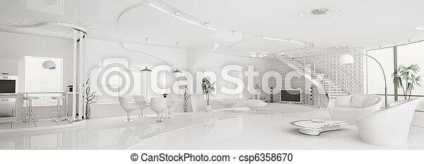 appartement, render, panorama, moderne, intérieur, blanc, 3d - csp6358670