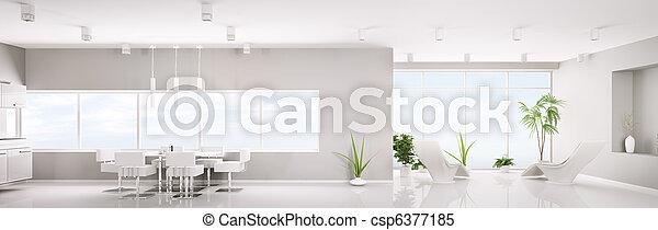 appartement, render, panorama, moderne, intérieur, blanc, 3d - csp6377185