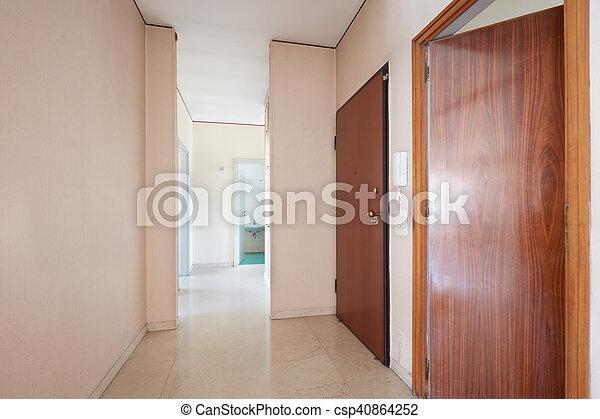 Appartement, vide, marbre, couloir, plancher. Appartement, plancher ...