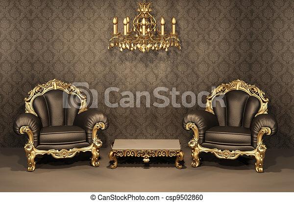 appartement, vieux, furniture., or, cadre, luxueux, interior., fauteuils, baroque, luxe - csp9502860