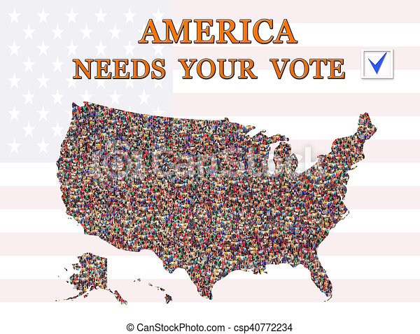 Map Of America Voting.Appeal To Vote On Presidential Election With Map Of Usa