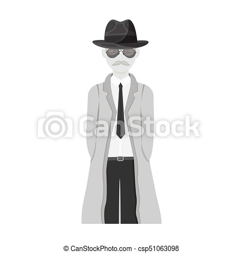 Appearance Of The Detective Man Detective In A Hat And Raincoat