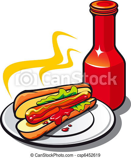 appetizing hotdog with ketchup on white background eps vectors rh canstockphoto com ketchup clipart ketchup clipart black and white