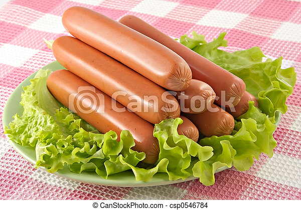 Appetizing pork sausages - csp0546784