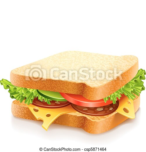 appetizing sandwich with cheese and vegetables - csp5871464