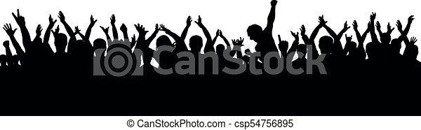 applaudissement, silhouette, foule - csp54756895