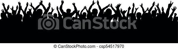 applaudissement, silhouette, foule - csp54517970