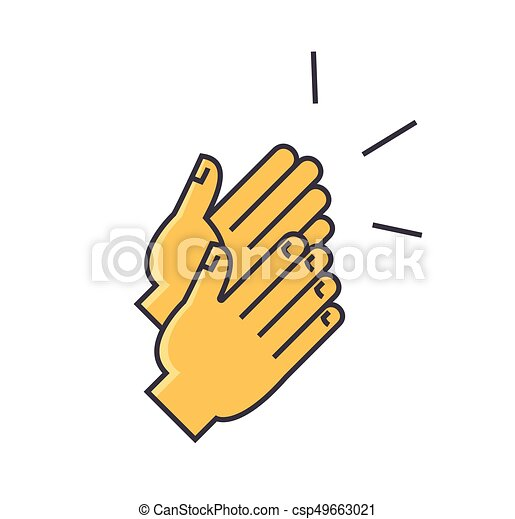 applause clapping hands concept line vector icon editable rh canstockphoto com clapping clipart gif clapping clipart black and white