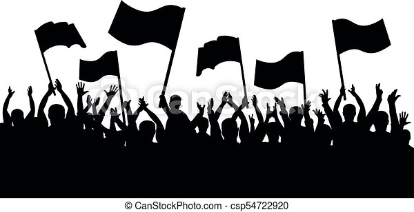 applause crowd silhouette cheerful people sports fans with flags rh canstockphoto com crowd vector background crowd vector hd