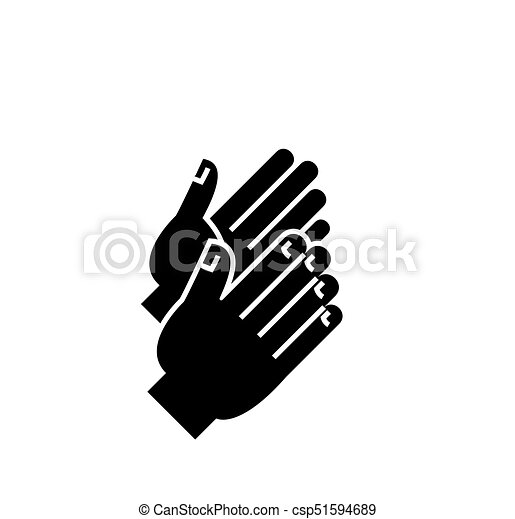 applause icon, vector illustration, black sign on isolated background - csp51594689