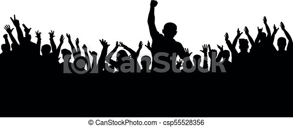 applause of the crowd of people silhouette cheerful group rh canstockphoto com Clip Art People Together Silhouette People Group Clip Art