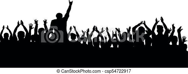 applauso, folla, persone, silhouette., allegro, ventilatori, festa, concerto - csp54722917