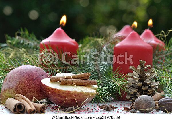 apple and cinnamon for christmas - csp21978589