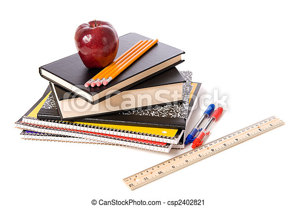 Apple and school Supplies on a white background - csp2402821