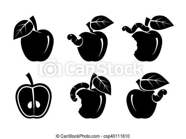 apple and worm. set of black icons - csp40111610