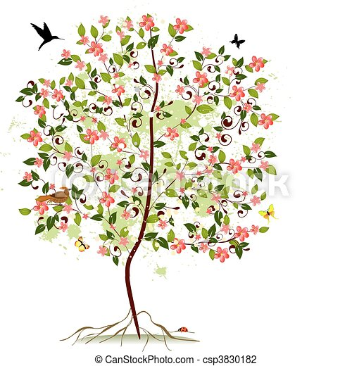 Apple blossom tree - csp3830182