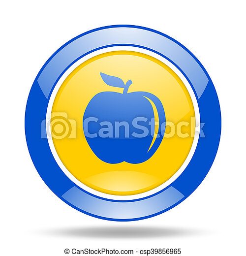 apple blue and yellow web glossy round icon - csp39856965