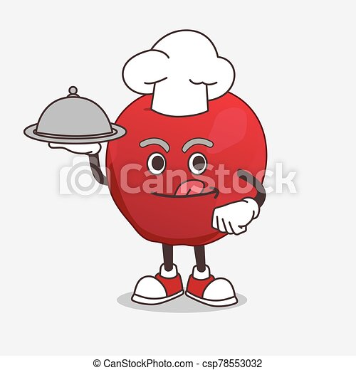 Apple cartoon mascot character as a Chef with food on tray ready to serve - csp78553032