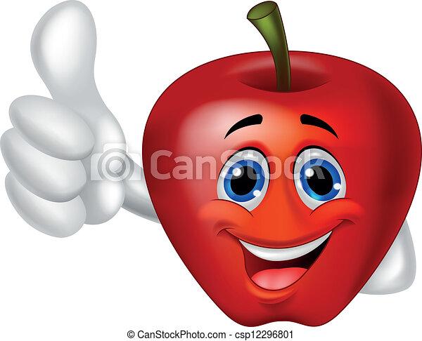 Apple cartoon thumb up - csp12296801