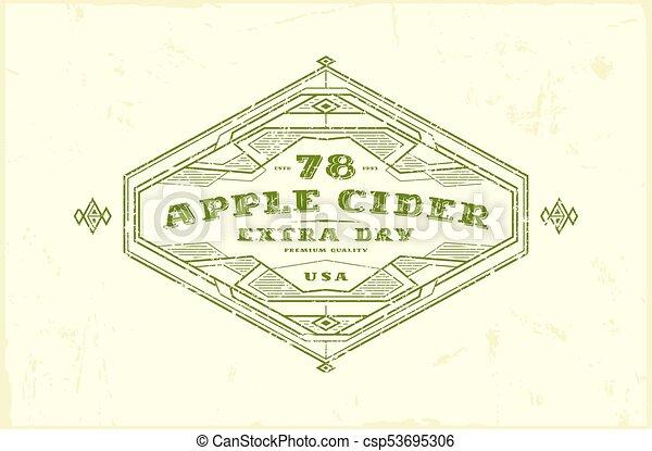 Apple cider label with vintage frame for logo, emblem, sticker ...