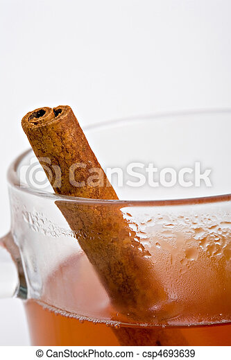 Apple cider with cinnamon stick - csp4693639