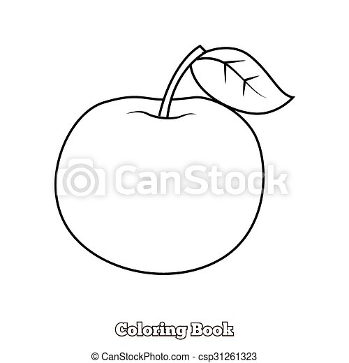 Apple Coloring Book Vector Illustration