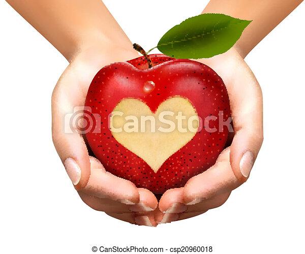 Un corazón tallado en una manzana. Vector. - csp20960018