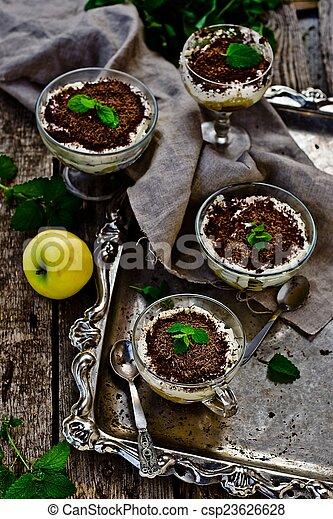 apple dessert of tiramisu with chocolate - csp23626628