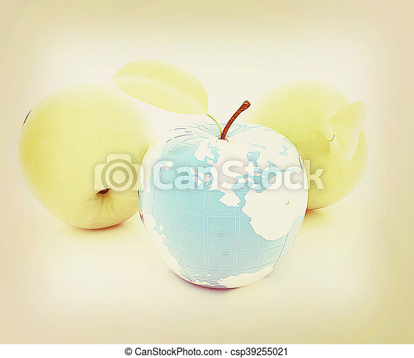 Apple earth and apples . 3D illustration. Vintage style. - csp39255021
