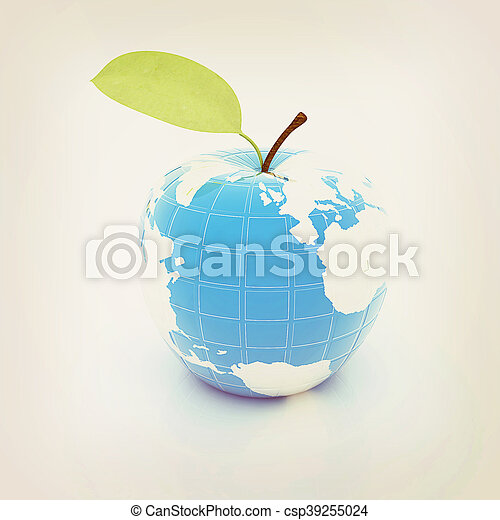 Apple for earth . 3D illustration. Vintage style. - csp39255024