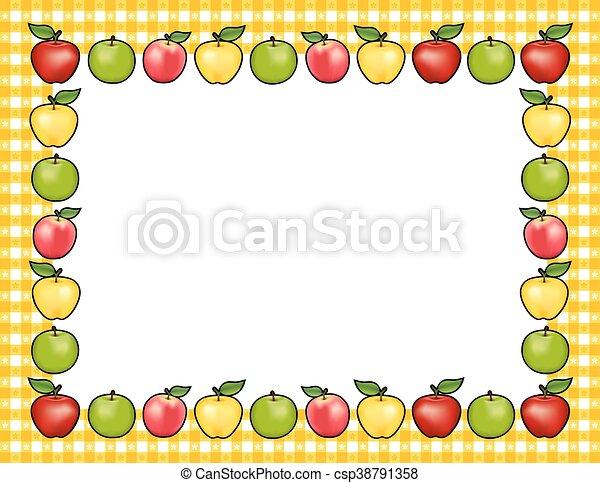 apple frame gold gingham border apple frame place mat with rh canstockphoto com Apple Bushel Clip Art Border Apple Tree Clip Art Border