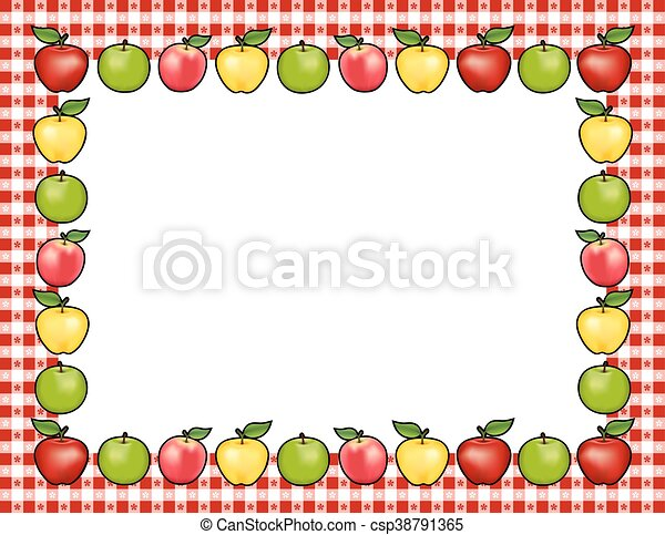 apple frame red gingham border apple frame place mat with clip rh canstockphoto ca Apple Clip Art Borders and Frames Apple Clip Art Borders and Frames