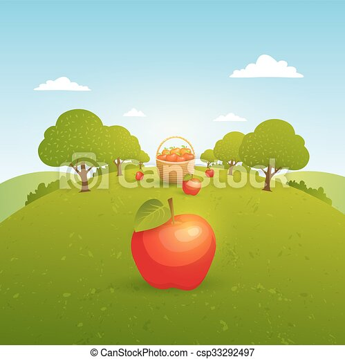 Apple garden illustration - csp33292497