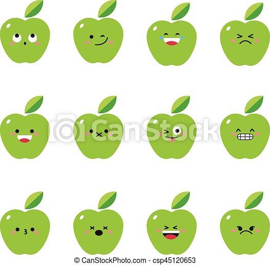 Apple green modern flat emoticon set - csp45120653